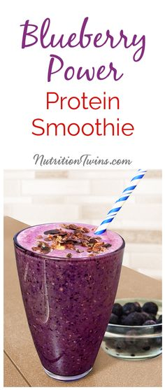 Purple Power Protein Smoothie   Only 217 Calories with 18 Grams of Protein   Sweet, Refreshing & Packed with Antioxidants to help fight disease and aging   For MORE RECIPES, fitness & nutrition tips please SIGN UP for our FREE NEWSLETTER www.NutritionTwins.com