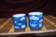 2 Asian Porcelain Blue And White Floral Design Tea Cups Marked #Unknown