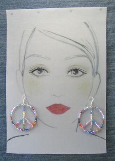 Large Sterling Silver Peace Earrings #51811014