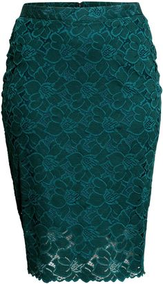 dae29448480a H&M+ Pencil skirt in Lace (Plus Size) Teal Skirt, Lace Skirt, Floral
