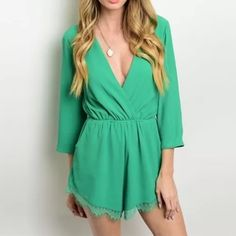 Green spring summer romper small New women sexy spring summer Chic romper features a plunging neckline, gathered waist and 3/4 sleeves. Has cute lace trim on hem.  color: green  size: Small  Country: USA Dresses Mini