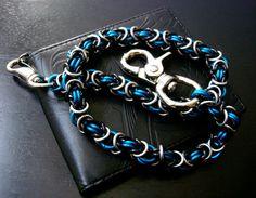Wallet Chain Black Blue Bright Biker Chain by JSWALLETCHAINS