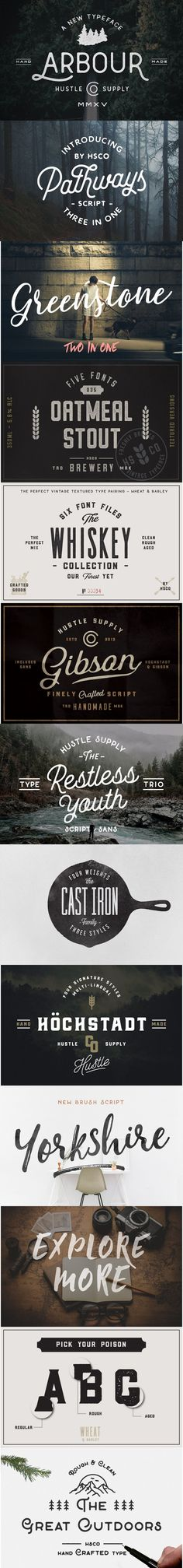 Giant vintage font Bundle | 56 Fonts The Giant Bundle is a collection of 50+ fonts consisting of 12 high selling products by Jeremy Vessey. Including best selling products The Whiskey Font Collection, Yorkshire, The Restless Youth Trio, Oatmeal Stout, Gibson Script, The Cast Iron Family, Hustle Script, Pathways, Hochstadt, Greenstone + Summer Hearts, The Great Outdoors & Arbour. #typography #script #handwritten #typeface #font #calligraphy #design #brush #download #bundle #web #watercolor