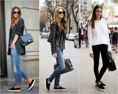"""No mundo da moda tudo retorna. Agora é a vez do tênis IATE, assim eram chamados na Década de 1980, que por culpa da Globalização - ou será New Colonização? -, iremos pedir nas lojas o SLIP-ON. Confortabilíssimo, não só vão bem com shorts, bermudas e saias """"em A"""" na altura do joelho/médias/longas, como também se adequaram perfeitamente à Moda de Rua, casando perfeitamente com leggins, jeans larguinhos ou justíssimos."""