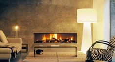 Linear Wood Fireplace
