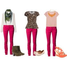 """""""answer: how to style hot pink jeans"""" by stellacharlie on Polyvore"""
