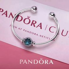 NEW PANDORA OPEN BANGLE BRACELET WITH BIRTHSTONE CHARM 11 COLORS AVAILABLE - #pandora#openbangle#brithstone#charm#blue