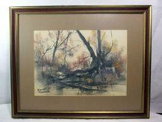 http://stores.ebay.com/mariasantiqueandvintage Vtg Signed Original Watercolor Painting by Emilee Felknor Scenic Landscape Water