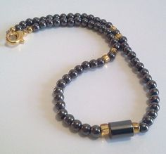 Black Ankle Bracelet Magnetic Hemalyke by BeadJewelryByAnita  This anklet is a new item, and can be resized in your size.  Your questions are welcome.