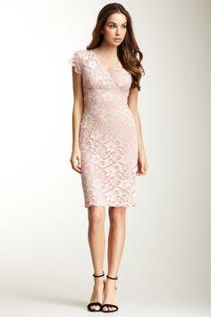 Marina Short Dorsay Stretch Lace Scallop Edged Surplus Bodice Dress--romantic but simple