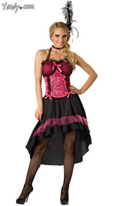 68255c5156 Saloon Girl Costume - The Saloon Girl costume includes a pink and black  dress with adjustable