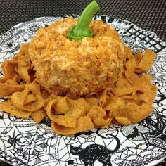 Pumpkin shaped Fritos Palmetto Cheese Ball - http://spreadingsoul.com/palmetto-cheese-ball/