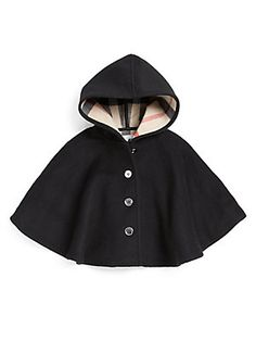 This cape is perfect, the style, the hood I love everything about it. But the buttoned up front wouldn't be practical for the catwalk! It would have to be loose or Velcro! Burberry Little Girl's Check-Lined Cape. Baby Outfits, Outfits Niños, Toddler Outfits, Kids Outfits, Little Girl Fashion, Boy Fashion, Fashion Games, Cape Bebe, Luxury Kids Clothes
