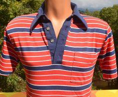 vintage 70s golf polo shirt STRIPES red white blue by skippyhaha, $22.00