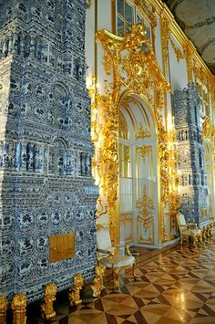 DELFT PORCELAIN HEATING STOVES~ Catherine Palace, Tsarskoye Selo, Russia. At the time, Delft porcelain was worth its weight in gold, and considered a precious material.
