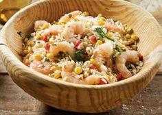 Salada de arroz com camarões