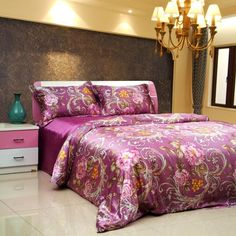 Deluxe Purple Peony and Floral Patterns Mulberry Silk Soft Bedding Set ($772) found on Polyvore