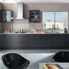 Teissa : Meuble de cuisine valentine portes et façades tiroirs en chêne gris foncé de chez teissa.
