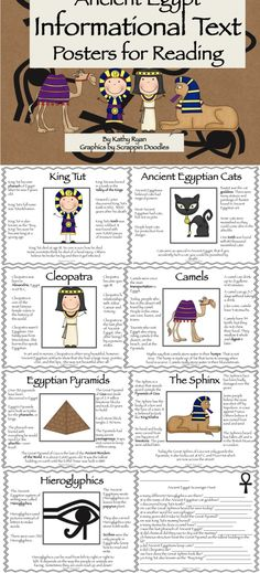 This series of 9 Informational Text Posters written in simple language will help your students learn basic facts about various topics of Ancient Egyptian history. Key vocabulary is highlighted in bold text, so students can identify the content words