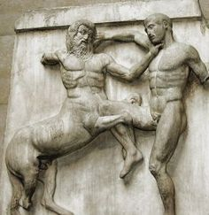 A metope depicting a centaur battling a Lapith, from the Parthenon, century BCE. (Photo taken at the British Museum, London). Ancient Greek Art, Ancient Greece, Ancient History, Egyptian Art, British Museum, Elgin Marbles, Art History Lessons, Art Antique, Art Sculpture