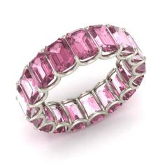 Emerald-Cut Pink Tourmaline Wedding Ring in 14k White Gold
