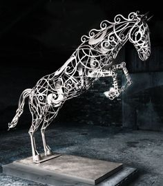 Wrought iron Garden Or Yard / Outside and Outdoor sculpture by artist David Freedman titled: 'Leaping Horse (Big Large abstract Metal garden Yard sculpture statue)'