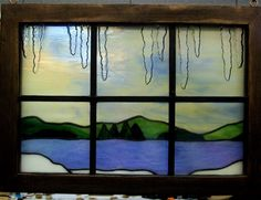 6 pane stained glass window