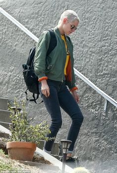 On-the-go: Kristen Stewart was spotted leaving Alicia Cargile's Los Angeles home in the early morning on Monday
