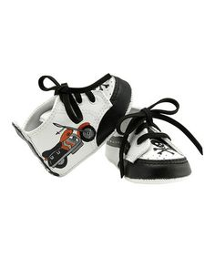 Look what I found on #zulily! White & Black Biker Dude Sneaker by Lil Tootsies #zulilyfinds