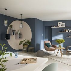In the living room, an association of colors completes the decor! - Decoration For Home Mid Century Modern Living Room, Living Room Modern, Home And Living, Living Room Decor, Living Rooms, Home Room Design, Living Room Designs, Bedroom Wall, Bedroom Decor