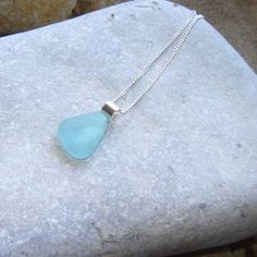 Aqua Sea Glass Triangle Necklace
