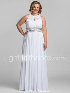 Vaina / columna de cuello alto piso de longitud gasa vestido de fiesta con el cristal de ts couture ® 2018 - $129.99