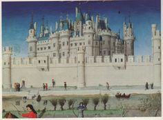The Louvre, Residence of French Monarchs. Detail of Calendar miniature in the Trés Riches Heures by the Limbourg Brothers Medieval Manuscript, Illuminated Manuscript, Berry, Louvre, Beauty In Art, 15th Century, Digital Image, Barcelona Cathedral, Taj Mahal