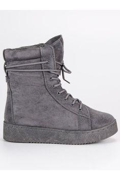 Sivé semišové topánky Bello Star Timberland, High Tops, High Top Sneakers, Vans, Platform, Wedges, Shoes, Fashion, Moda