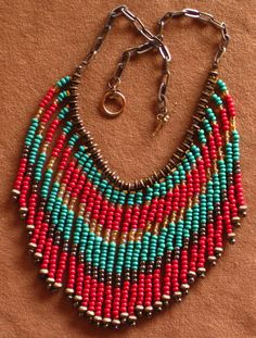 Native American style fringed necklace in by MontanaTreasuresbyMJ, #beadwork
