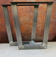 Tapered Metal Table legs 3''x1.5'' tube by SteelImpression on Etsy