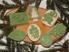 Купить Морозный лес - натуральное мыло с шелком, мятой и эвкалиптом - зеленый, елка, шелковое мыло