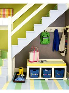"""Mudroom - Tip #1  Try using the space in an entry hallway, along a wall by the front or back door, or just inside the door to your garage. And there's no need for a closet. Loecke prefers keeping coats, boots and other essentials in plain sight instead of hidden away. """"It's so much easier to find what you need in a hurry,"""" he says."""
