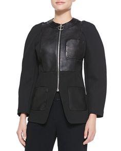 Zip-Up Blazer with Leather Detail, Onyx