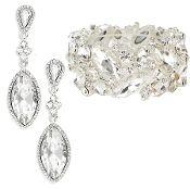 Clear Crystal Bracelet Earrings Set Elegant Wedding Jewelry Prom Bridesmaid Bridal