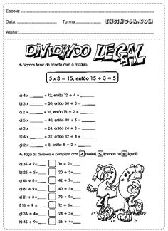 Atividades de matemática divisão 3° ano fundamental - Ensino Já Math For Kids, Math Worksheets, Teaching, Education, Classroom, School, 30, Gabriel, Division For Kids