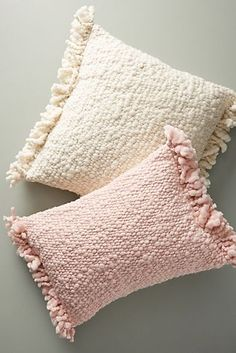 White Pillows by Anthropologie, Fringed Knit Pillow