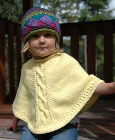 Sweet Tart Poncho pattern by Aimee Alexander Poncho Knitting Patterns, Knitted Poncho, Knit Patterns, Toddler Poncho, Girls Poncho, Knitting For Kids, Baby Sweaters, Cardigan Sweaters, Knit Crochet