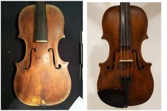 Before and after photos of a restoration. Violin, Restoration, Music Instruments, Photos, Pictures, Musical Instruments