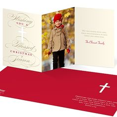 These religious Christmas cards combine modern designs with traditional messages.