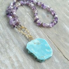 Turquoise pendant & amethyst stone statement necklace, double wrap gemstone necklace Lovely by Lovenza Turquoise Pendant, Turquoise Bracelet, Amethyst Stone, Gemstone Necklace, Gemstones, Antiques, Bracelets, Vintage, Jewelry