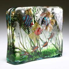 "Barbini Murano art glass fish block. 10""H x 11 1/2""W x 2 1/2""D.    I need to find out how to fire these.  Not that I could be this good, but still..."