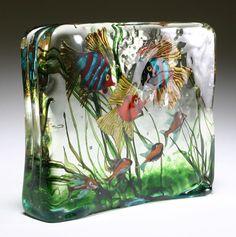 "Barbini Murano art glass fish block. 10""H x 11 1/2""W x 2 1/2""D. Very good condition."