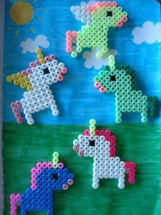 Hama bead unicorns and a pegasus and a unipegacorn! Hama Beads Design, Diy Perler Beads, Perler Bead Art, Pearler Beads, Fuse Beads, Melty Bead Patterns, Pearler Bead Patterns, Perler Patterns, Beading Patterns