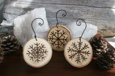 Snowflake Ornaments - Set of 3 - Woodburning on Birch. $15.00, via Etsy.